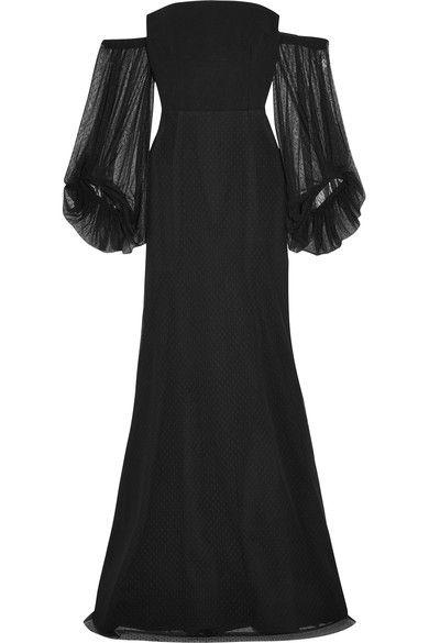 Rebecca Vallance - Orlando Off-the-shoulder Point D'esprit And Crepe Gown - Black - UK10