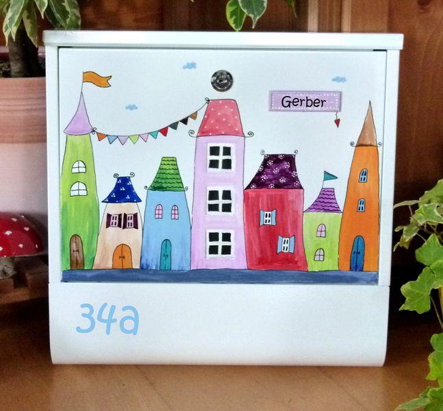 Briefkasten ♥♥♥ Bunte Stadt mit Wimpelkette♥♥♥ von KirSchenrot auf DaWanda.com