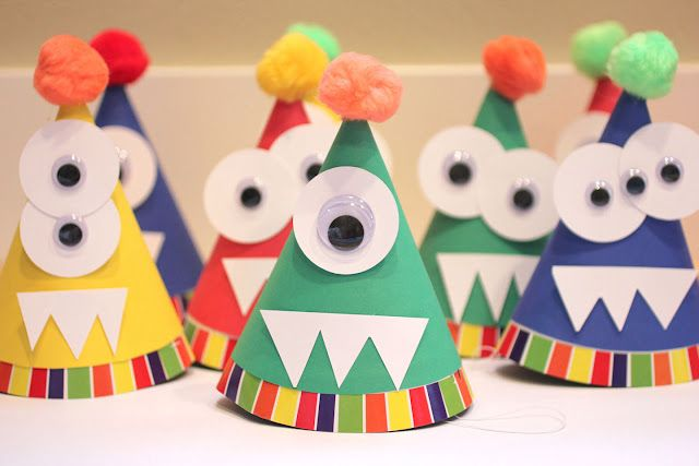 Monster Party Hats - for the first day of school? Love this! I could make a big one for my birthday party's!