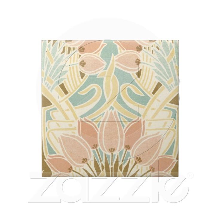 pretty tulips art nouveau floral pattern ceramic tiles from Zazzle.com $16.90