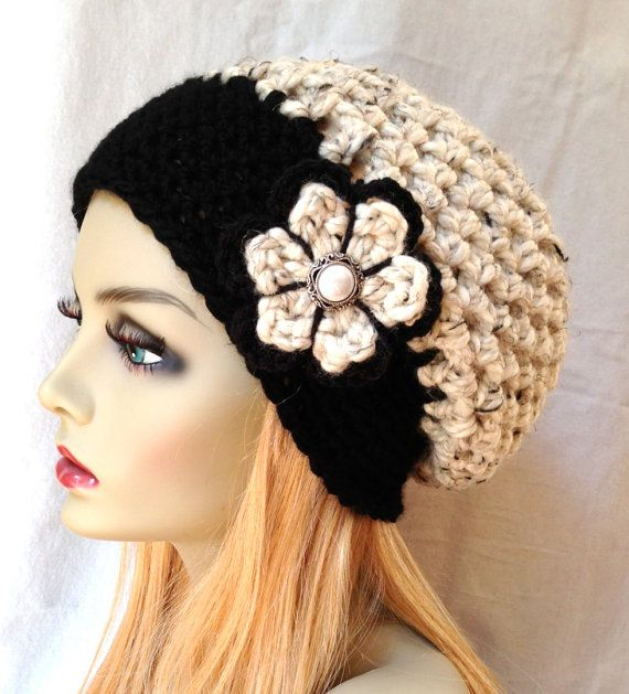 Oatmeal and Black Crochet Beret Womens Hat, Slouchy Beret, Flower, Wool Fall Winter Hat, Birthday Gifts for Her Girls Teens JE808SBTF1