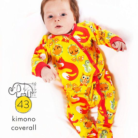 Baby footed one piece pdf pattern, kimono coverall, photo tutorial, sizes Preemie to 3T -Pattern 43