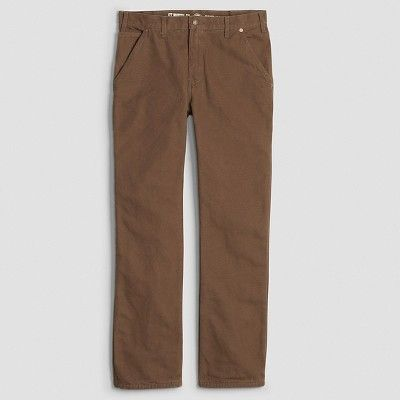 Dickies Men's Relaxed Straight Fit Canvas Flannel-Lined Carpenter Jean- Timber 32x30