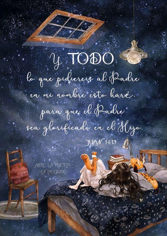 Juan 14:13 es una promesa que conocemos bien, pero ¿Conocemos que ese todo significa TODO: lo espiritual y lo mundano; lo grande y lo pequeño; lo importante y lo nimio; lo profundo y lo superficial;…? Dios no pone límite a una promesa hecha a sus hijos, porque sabe que, como hijos suyos, pedimos siguiendo su ley y sabemos que no va a darnos lo que no sea para bien. Así que pidamos TODO sin miedo, sin medida, sin más límite que el que nos da el coger Su lado y con la fe en que no hay petición…