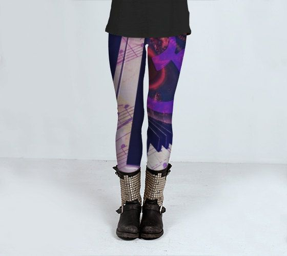 Piano Yoga Leggings or capris womens workout wear S - L by ParadoxYoga on Etsy