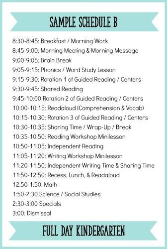 This is a sample Kindergarten schedule that uses a Daily Five approach. Read the whole post for a description of each part of the literacy block + other sample schedules!