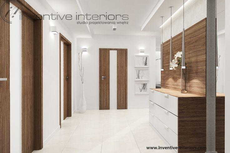 Projekt korytarza Inventive Interiors - komoda i oświetlenie dekoracyjne w korytarzu