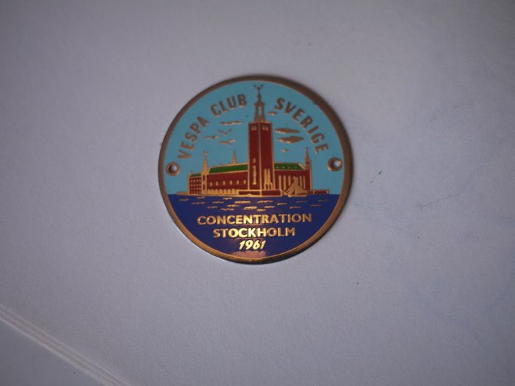 Vespa Club Sverige 1961 badge plakette placca plaque  | eBay