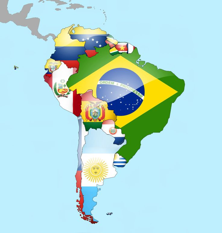 Map of South America by Flags