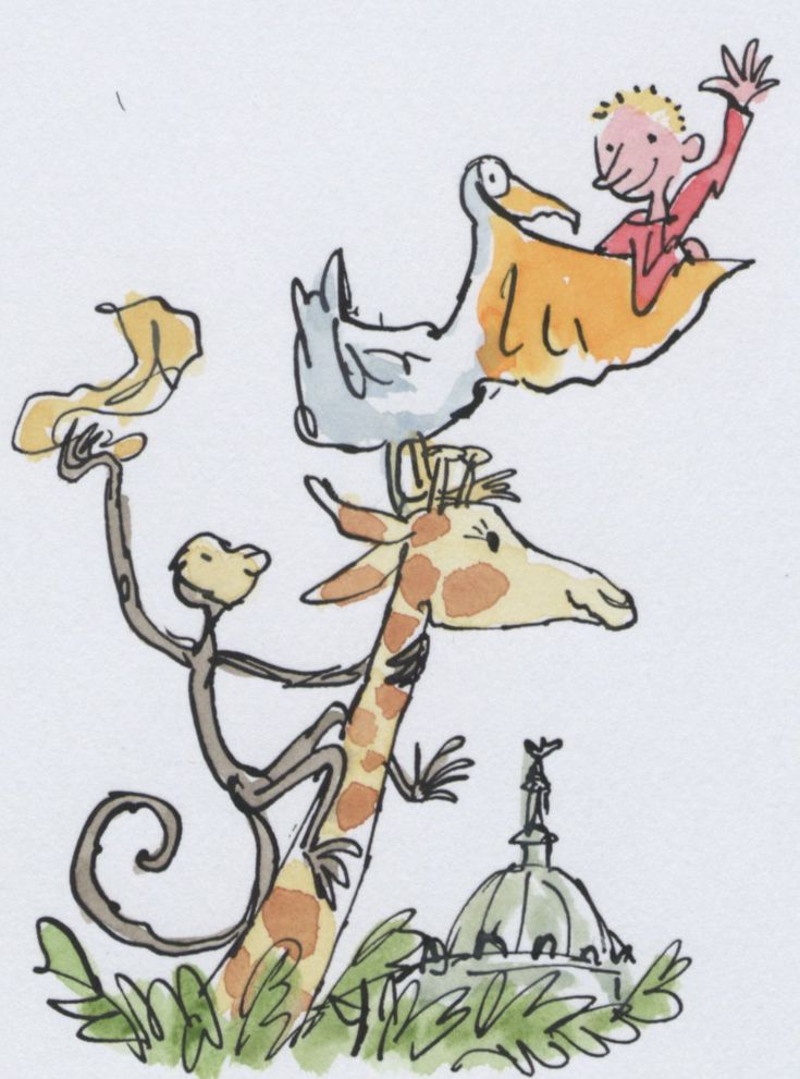 The Giraffe, The Peli, The Monkey and Me, from the book of the same name by Roald Dahl. Artwork by Quentin Blake...One of my favourite cartoonists ever.