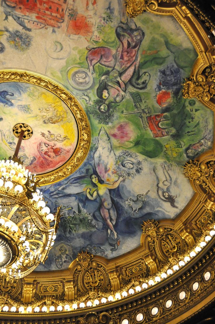 Marc Chagall's ceiling at the Paris Opera. When the Russian-Jewish modernist was commissioned to create this work, he sparked the ire of the French arterati. The mural was dramatically unveiled during the finale of a Mozart symphony, and Chagall's critics were struck dumb.
