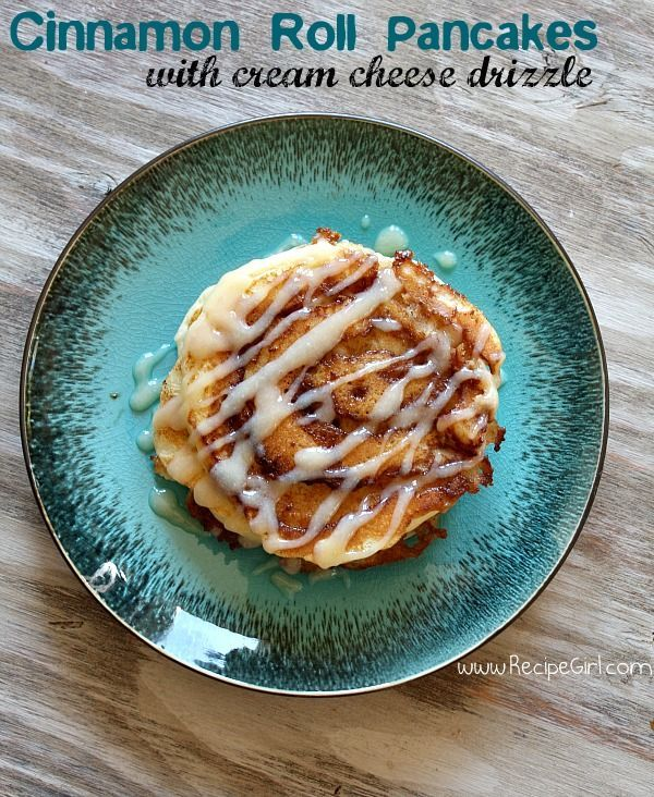 This recipe for Cinnamon Roll Pancakes is a delicious replica of the cinnamon roll- in a pancake. Topped with cream cheese glaze.