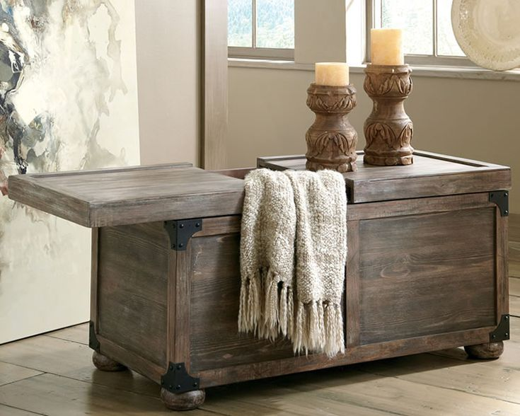 Rustic Furniture Stores Cocktail Table with Storage ....love this idea to go with the sectional