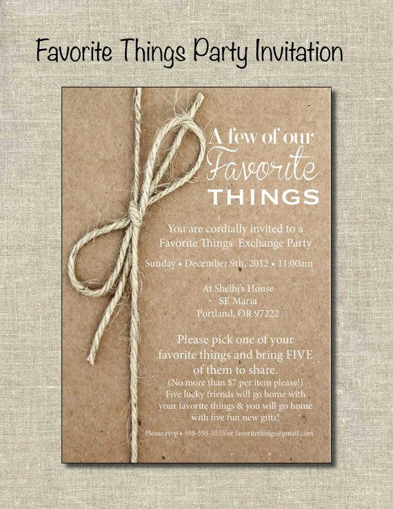 Neighborhood Christmas Party Ideas Part - 19: Favorite Things Party Invite Printable By PrintablePartiesInc, $12.00