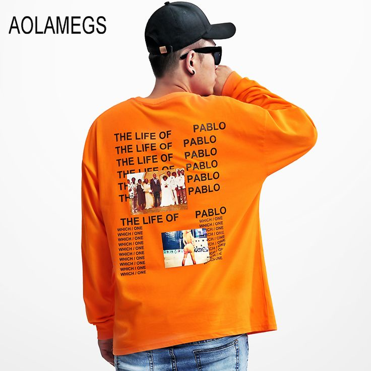 ==> [Free Shipping] Buy Best Aolamegs Men Women Oversized Long sleeved Tee shirts American Street Hip hop Tops Rapper T-shirts Kanye Drop-shoulder Clothing Online with LOWEST Price | 32756445825