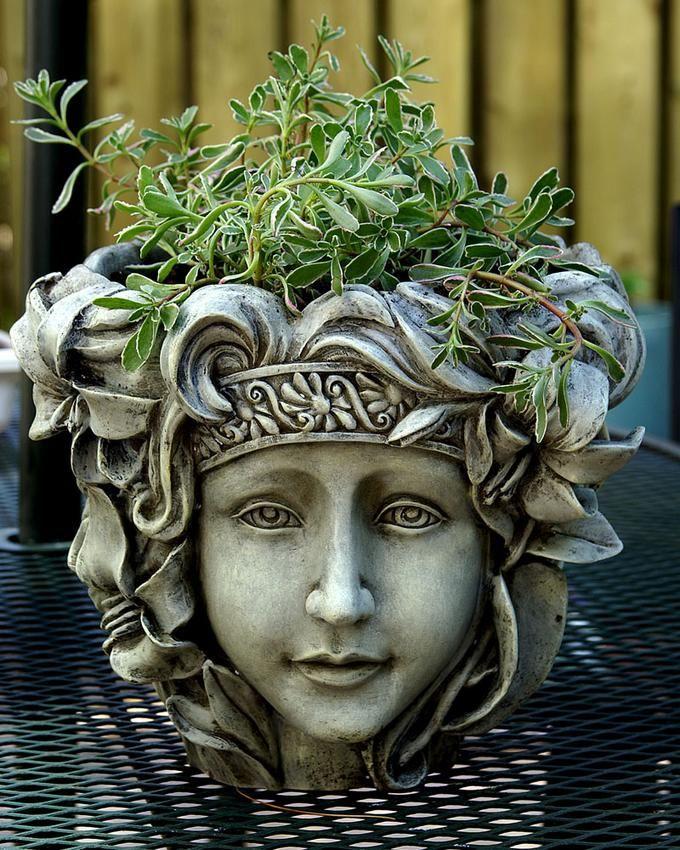 115 best images about garden heads on pinterest - Medusa head planter ...