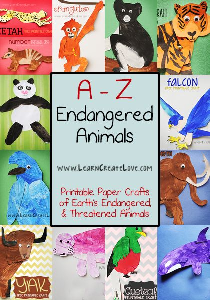 A-Z Endangered Animal Crafts | LearnCreateLove.com