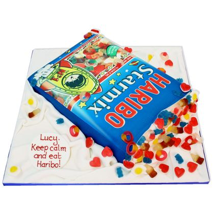 A fabulous box cake with real Haribo sweets. This cake causes a mad rush for the sweets so watch out!