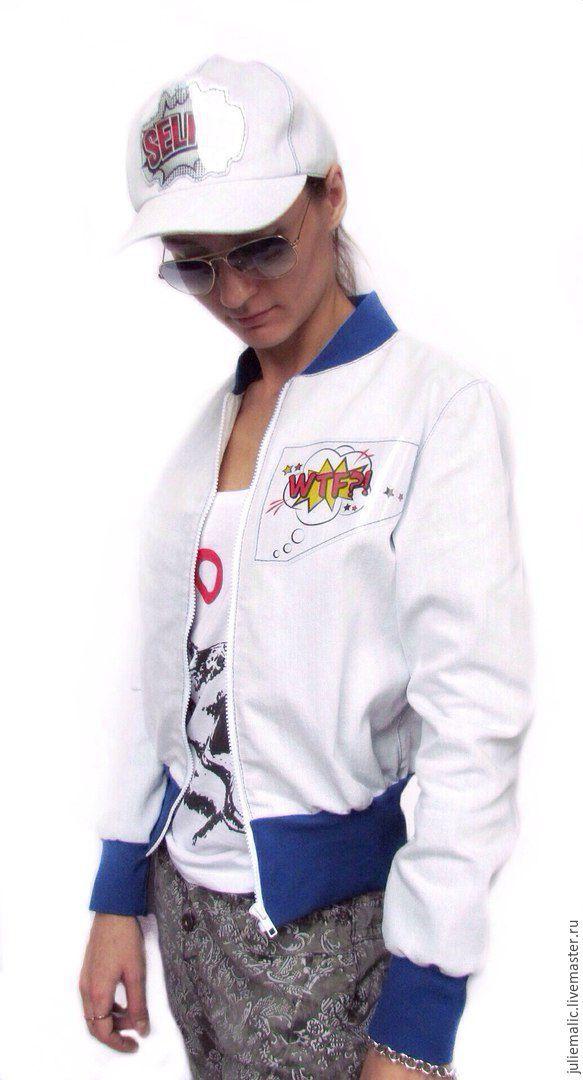 Купить Эксклюзивная джинсовая куртка - бомбер (пилот) в стиле поп-арт - куртка пилот