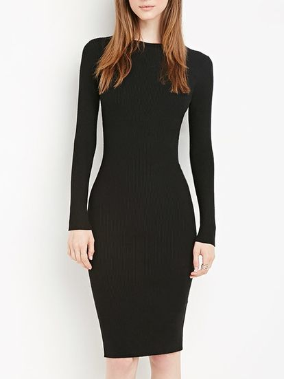 Black Long Sleeve Slim Elastic Dress
