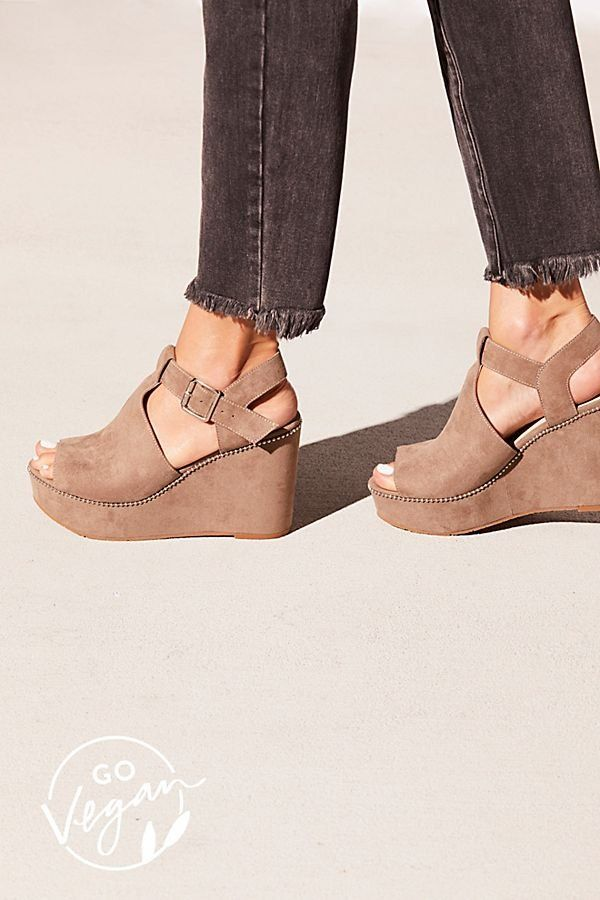 dec6845a2800 Vegan Darcy Wedge - Tan Suede Open Toe Wedge Heel with Ankle Strap