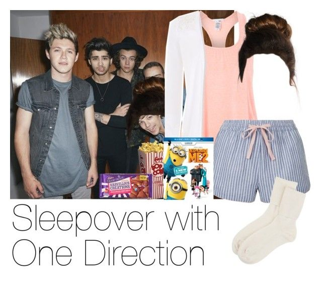 """""""REQUESTED: Sleepover with One direction"""" by style-with-one-direction ❤ liked on Polyvore featuring Eberjey, Topshop, Cadbury, Johnstons of Elgin and one direction 1d niall horan harry styles liam payne louis tomlinson zayn malik"""