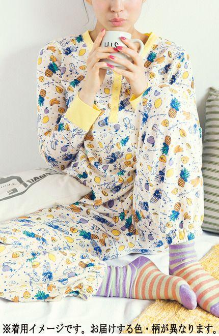 リブ イン コンフォート 気持ちいいワッフル素材でいい夢みてね☆ スムージー柄パジャマ(ベリースムージー) | フェリシモ