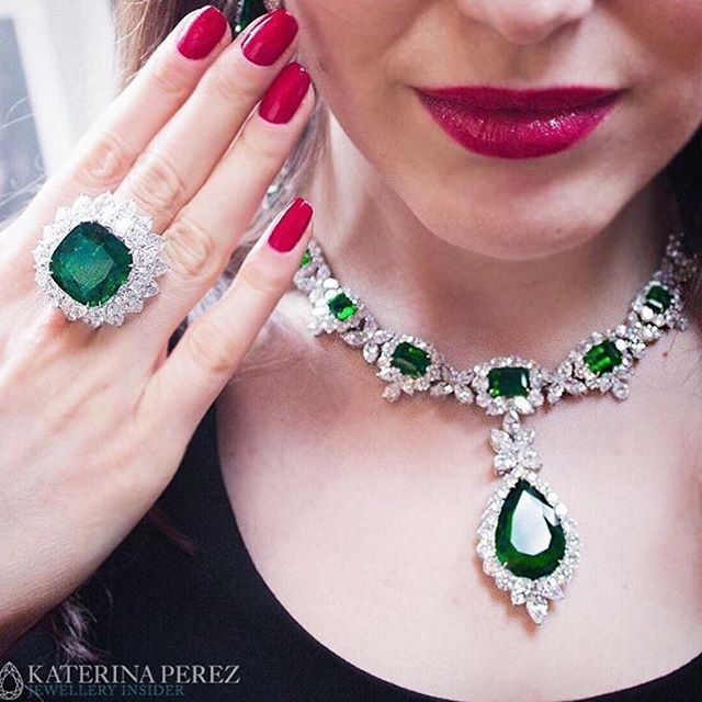 Bayco Jewels Emerald and Diamond pieces proves that red and green go very well together!