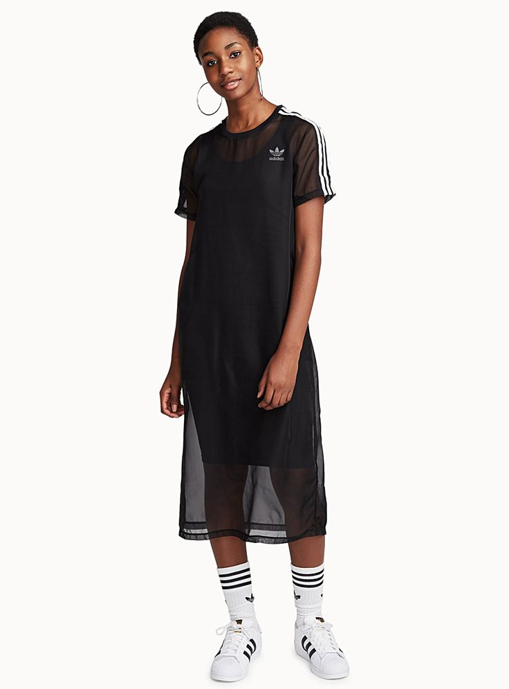 Adidas at Twik   A long sheer dress accented by sporty-looking stripes   Stretch jersey lining   Fine, light mesh    The model is wearing size small