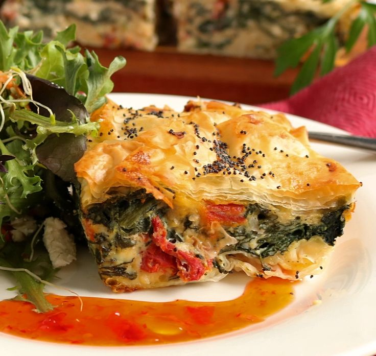 A vegetarian, flakey filo pie. Filled with spinach, feta and sun-dried tomatoes it makes a delicious light meal, picnic pieor pot-luck addition.