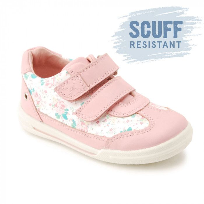 Flexy Soft Turin, Pink Floral Leather Girls Riptape First Walking Shoes - Girls Shoes