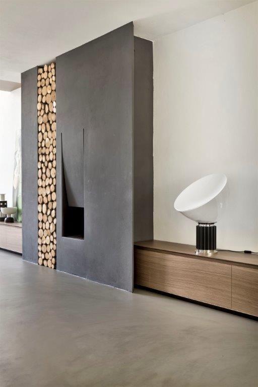 Beton w salonie/ beton na ścianie / beton na podłodze / powłoka cementowo-polimerowa HD Surface / Kopp