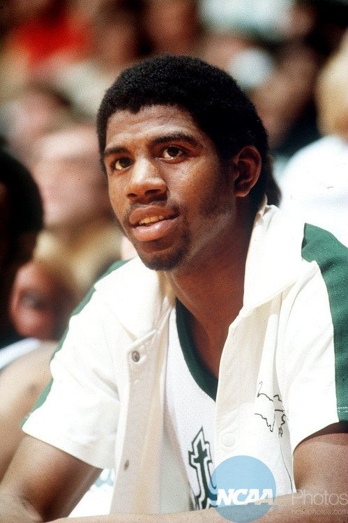 "Earvin ""Magic"" Johnson, Michigan State University basketball star."
