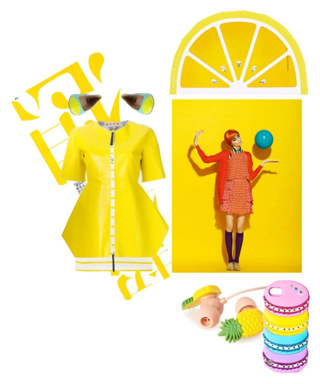 Yellow by bablou on Polyvore featuring polyvore, fashion, style, Barbour, Marni, Ella Moss, Forever 21, clothing, yellow and trend
