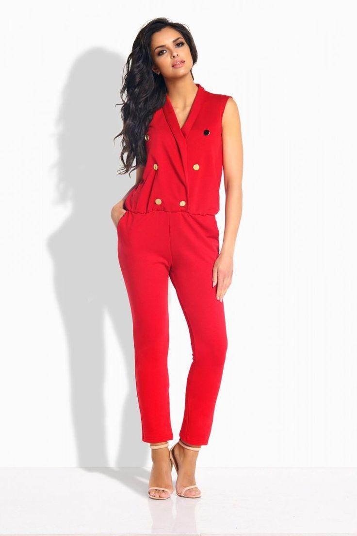 Σταυρωτή ολόσωμη φόρμα με τσέπες και διακοσμητικά κουμπιά.95% Cotton 5% Spandex