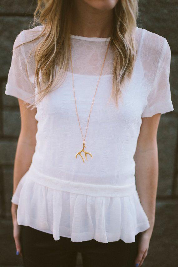 Collana oro Antler | Collana corno | Collana Cervo | Antler gioielli | Antler oro | Regalo di Natale | Regali per lei | Stocking Stuffer