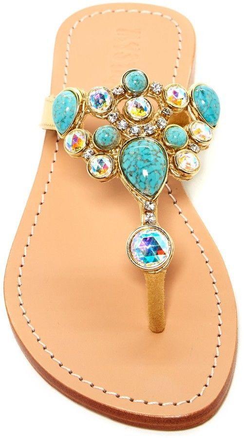 Mystique Sandals Beaded Gold sandals 9 Turquoise Czech crystal New #Mystique #Slides #SpecialOccasion