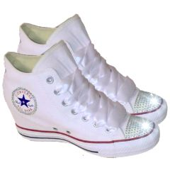 Womens Converse All Stars White Wedge Heel Bling Crystals Bride Wedding Shoes Glittershoeco