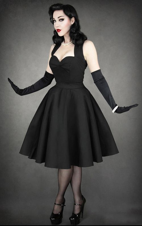 Robe noire Gothique Restyle Pin-up 50's