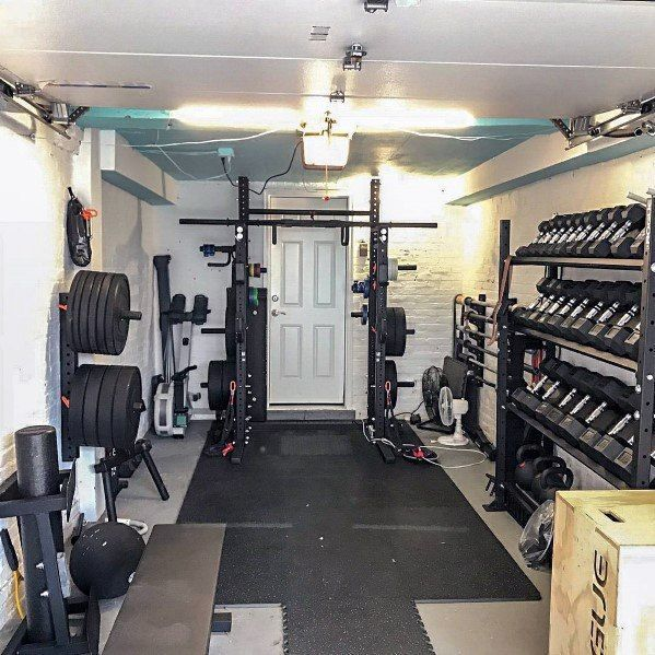 Top 75 Best Garage Gym Ideas Home Fitness Center Designs One Car Garage Gym Ideas With Rogue Workout Equipment In 2020 Home Gym Garage Gym Room At Home Home