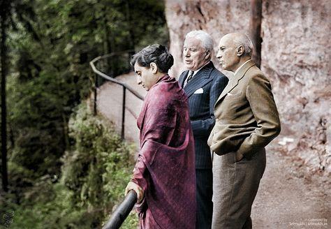Colorized this photo of Indira Gandhi Charlie Chaplin and Jawaharlal Nehru in Bürgenstock Switzerland (1953)