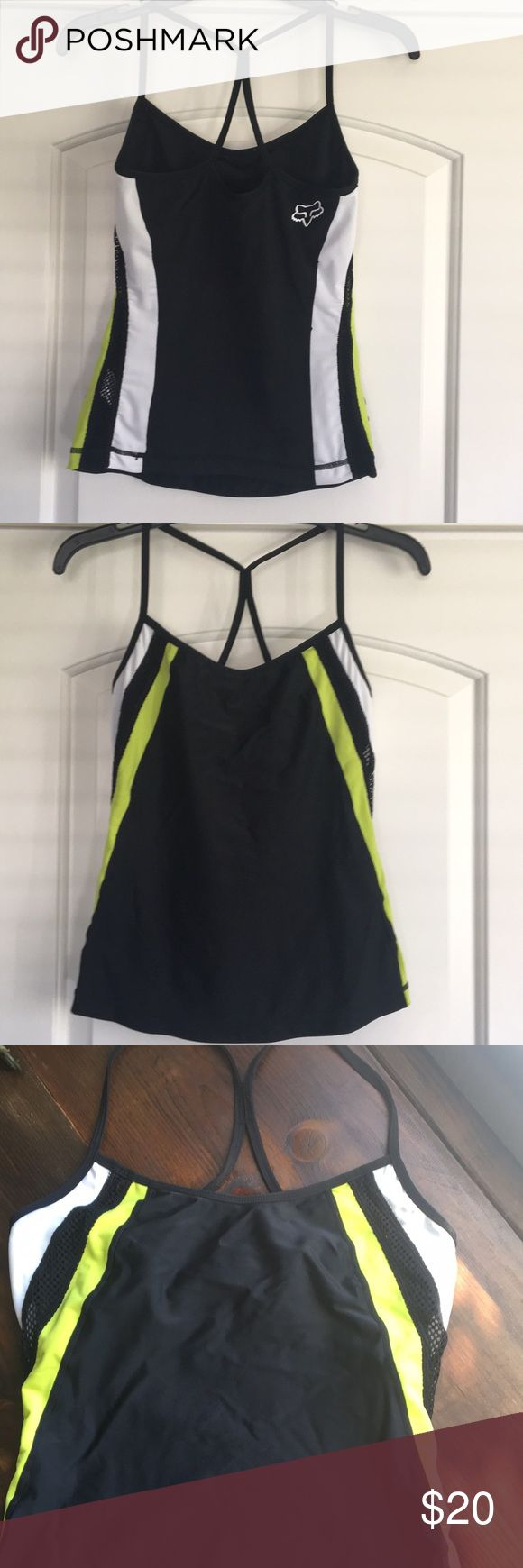 EUC Fox Swimsuit Tank Top Like New! Super sexy tank top made of swimsuit material. Built in bra. Mesh detail on sides. This top fits true to size. Fox Racing Swim Bikinis