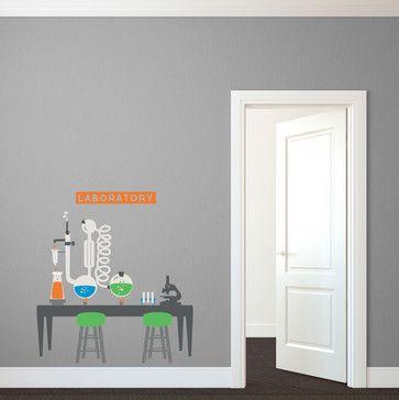 Science Lab Playroom Backdrop contemporary-wall-decals