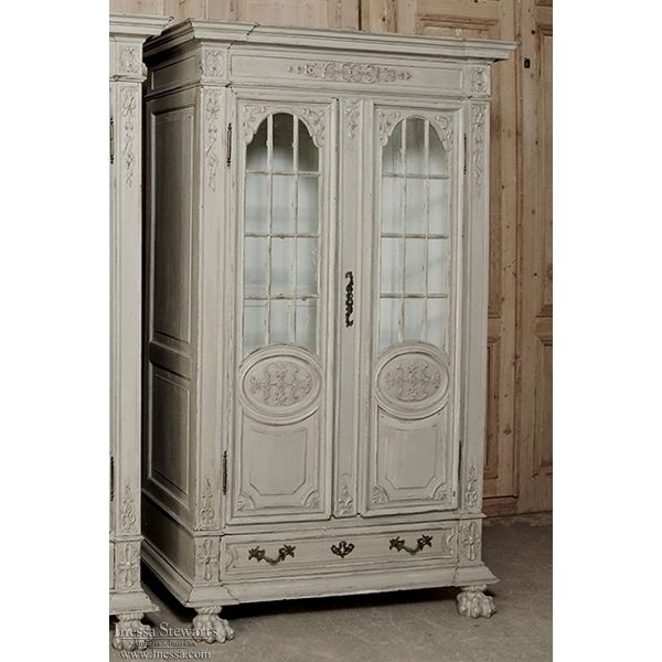19th Century French Louis XIV Painted Oak Bookcase ~ Bibliotheque