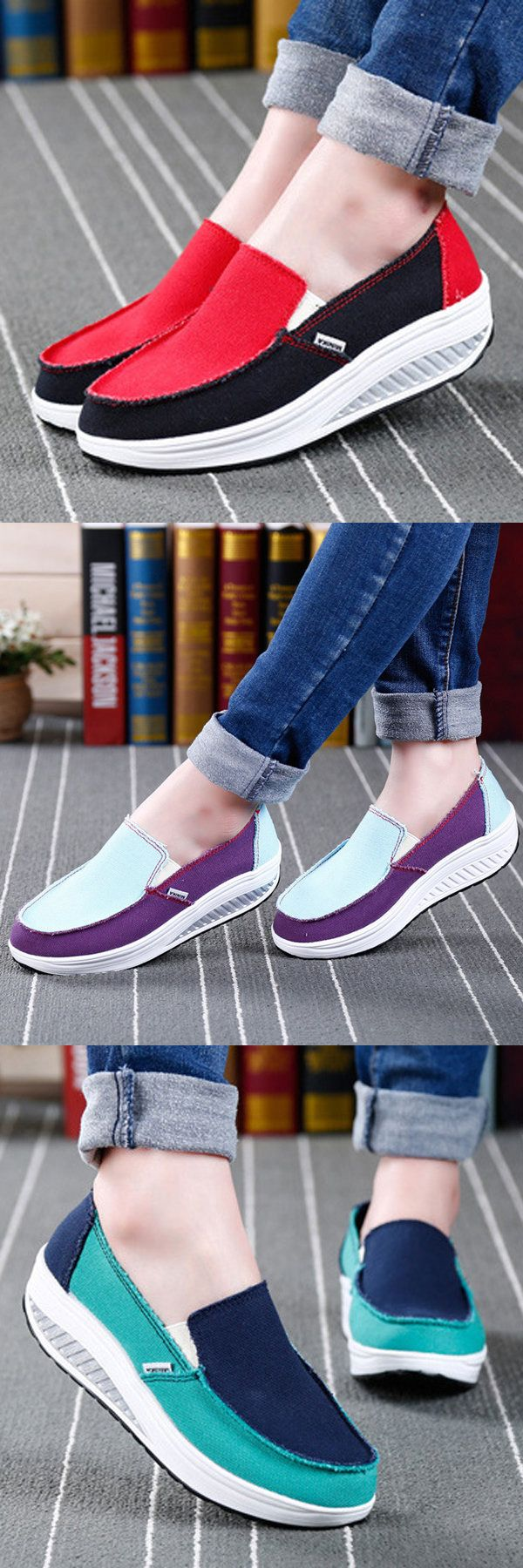 $19.21Canvas Color Blocking Sport Running Rocker Sole Casual Outdoor Shoes