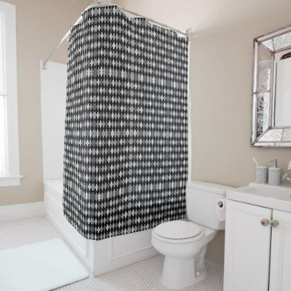 Plaids Black And Gray Shower Curtain