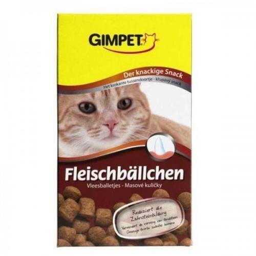 Aus der Kategorie Katzensnacks  gibt es, zum Preis von EUR 3,95  <br /><br />Gimpet Fleischbällchen - der knackige Fleischsnack<br /><br />Katzen lieben einen herzhaften Snack zwischen den Hauptmahlzeiten.<br />Mit den besonders leckeren Fleischbällchen können Sie Ihre Katze belohnen oder ihr einfach mal zwischendurch einen Leckerbissen zukommen lassen. <br />Die knackigen Fleischbällchen helfen, Zahnbelag und Zahnsteinbildung zu verhindern. Damit tragen sie zur Gebisspflege Ihrer Katze…
