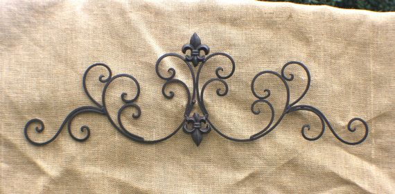 Metal Wall Art/ Wrought Iron Wall Decor/ Metal Wall Hanging/ Indoor/ Outdoor Metal Wall Art/ Patio/ Fleur De Lis/ Garden Decor