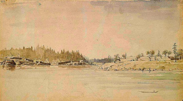 Villaggio dei Songhees di Fronte a Fort Victoria. Fino al 1846, Old Songhees si trovava accanto al forte, ma un incendio partito dal campo suggerì lo spostamento del villaggio sulla sponda opposta del canale, dove Kane lo trovò nel 1847. Le grandi case erano costruite con robuste assi di cedro appoggiate a un telaio di grossi tronchi.
