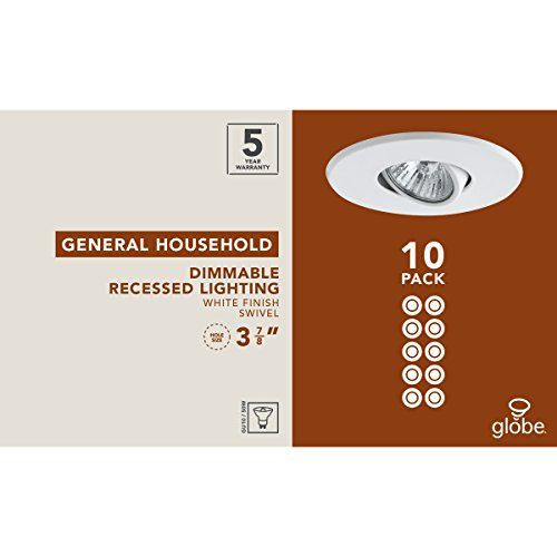 Globe Electric 90540 4 inch Recessed Lighting Kit, Swivel, White Finish, Spot Light, Contractor's 10 Pack
